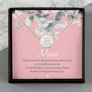 Personalised Mum Sentiment Silver Tone Necklace and Box