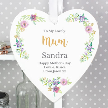 Personalised Floral Watercolour Large Wooden Heart