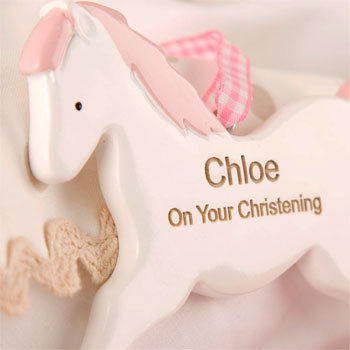 Girls Pink Personalised Christening Rocking Horse Ornament