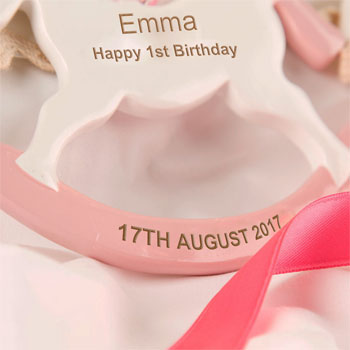 Girls Personalised First Birthday Rocking Horse Ornament