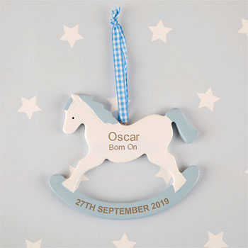 Boys Personalised Rocking Horse Ornament New Baby Gift