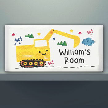 Personalised Digger Door Ceramic Plaque