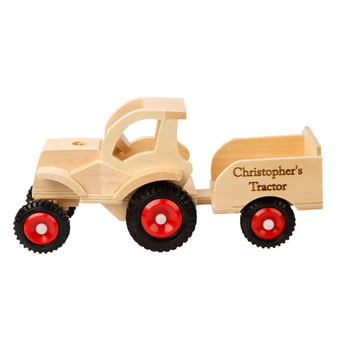 Engraved Wooden Tractor with Trailer