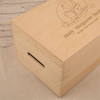 Girls Laser Engraved 1st Communion Wooden Keepsake Box