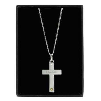 Personalised Sterling Silver Cross Necklace with Gold Heart