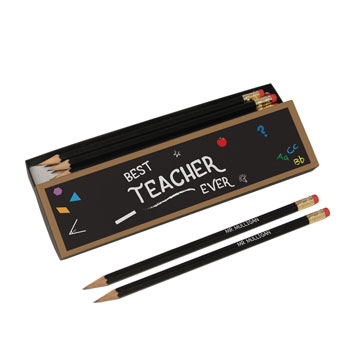 Best Teacher Chalkboard Personalised Black Pencils in Box