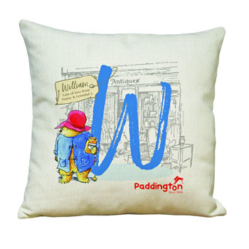 Personalised Paddington Bear Initial Linen Childrens Cushion