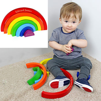 Personalised Wooden Rainbow Puzzle Toddler Toy