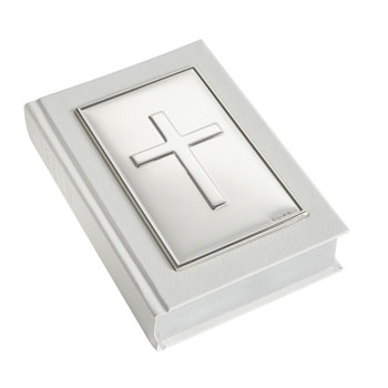 Plain Solid Silver Cross White Leather Gem Bible by Carrs
