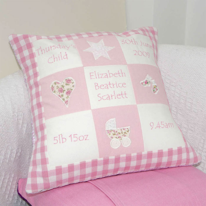 Personalised Embroidered Baby Memory Cushion Pink or Blue