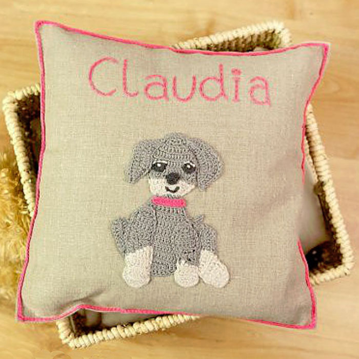 Personalised Crocheted Nursery Cushion in a Presentation Box