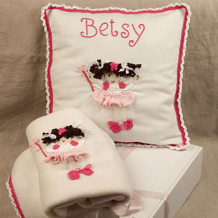 Crocheted Nursery Set With Personalised Cushion and Blanket