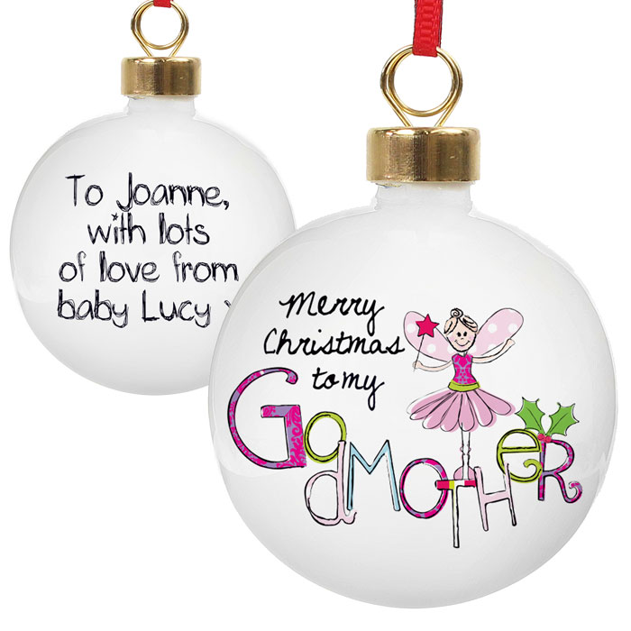 Exclusive Godmother Personalised Christmas Tree Bauble