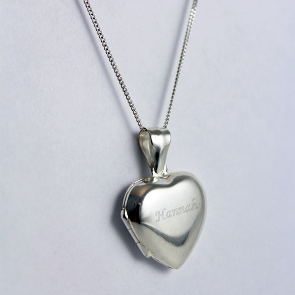 Engraved Sterling Silver Heart Locket