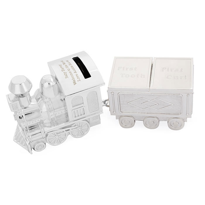 Engraved Train Moneybox with Tooth and Curl Trinket