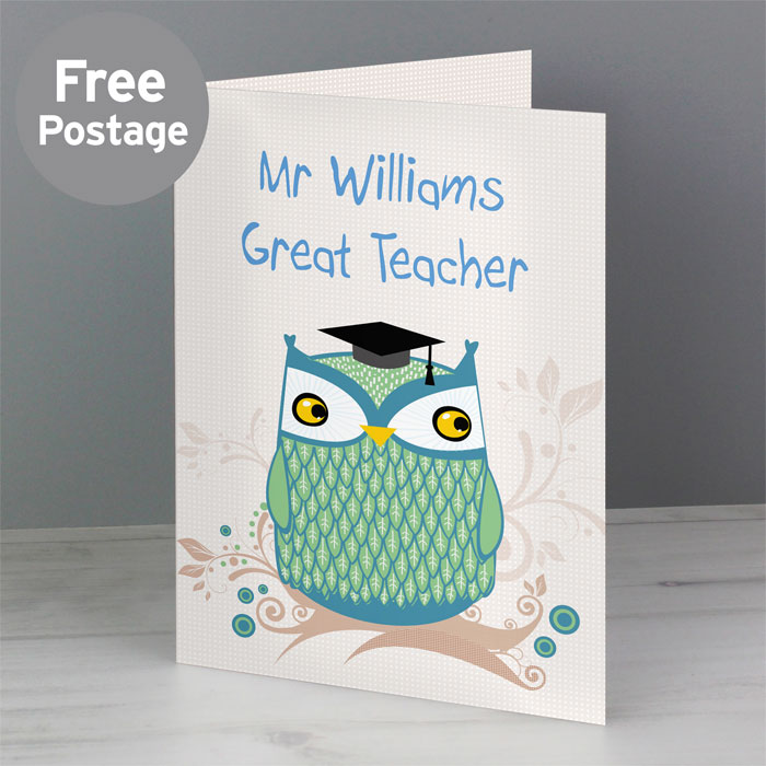 Personalised Owl Teacher Card Free Delivery