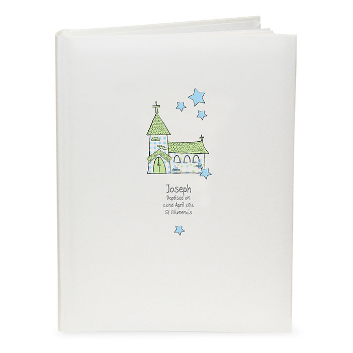 Boys Personalised Church Interleaved Blue Photo Album