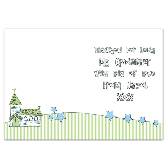 Personalised Church Godparent Card Blue Pink Free Delivery