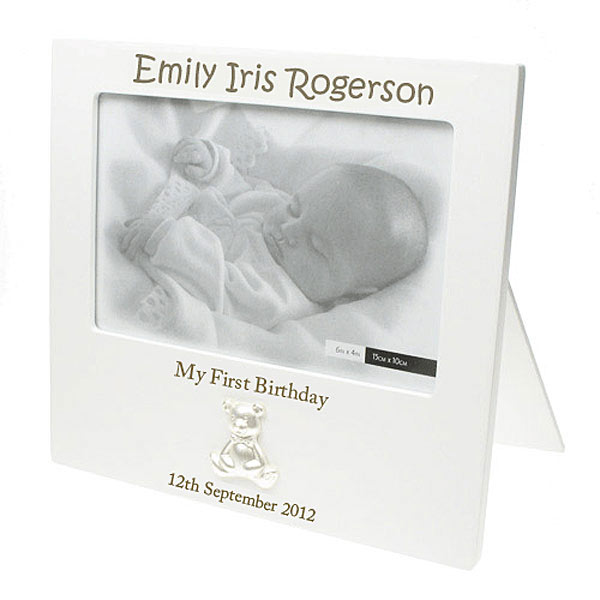 Wooden Laser Engraved Personalised First Birthday Frame