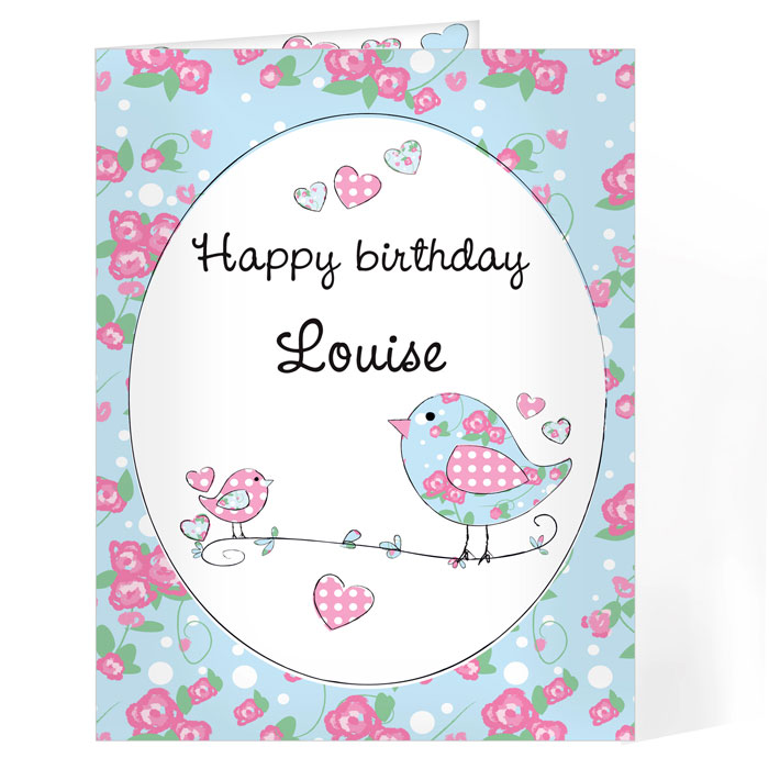 Personalised Floral Birds Card Free Delivery