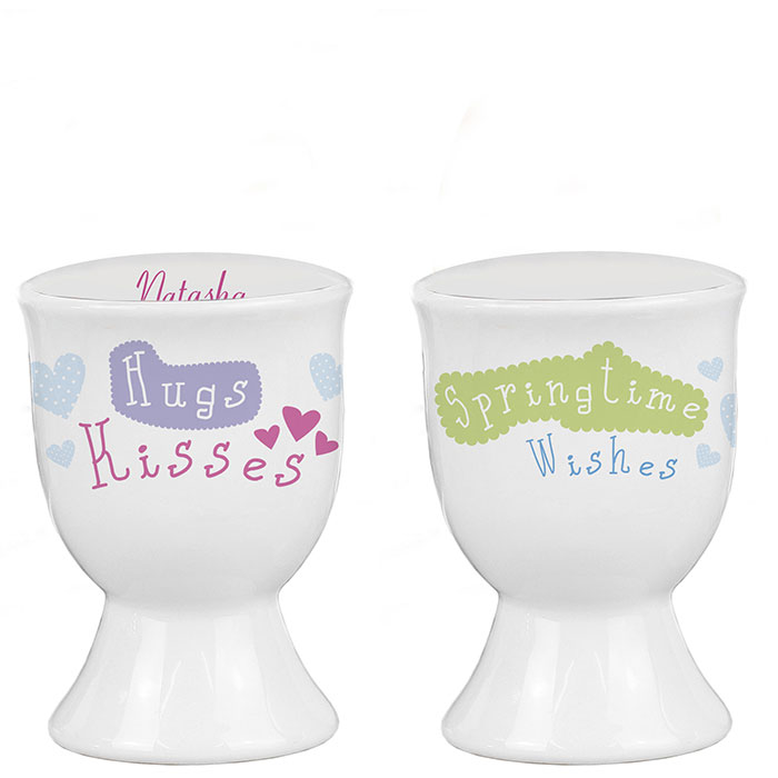 Hugs Kisses Springtime Wishes Personalised Egg Cup