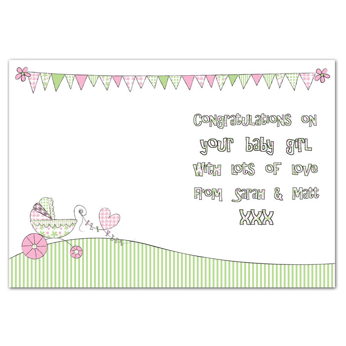 Whimsical Pram Its a Girl Card Free Delivery