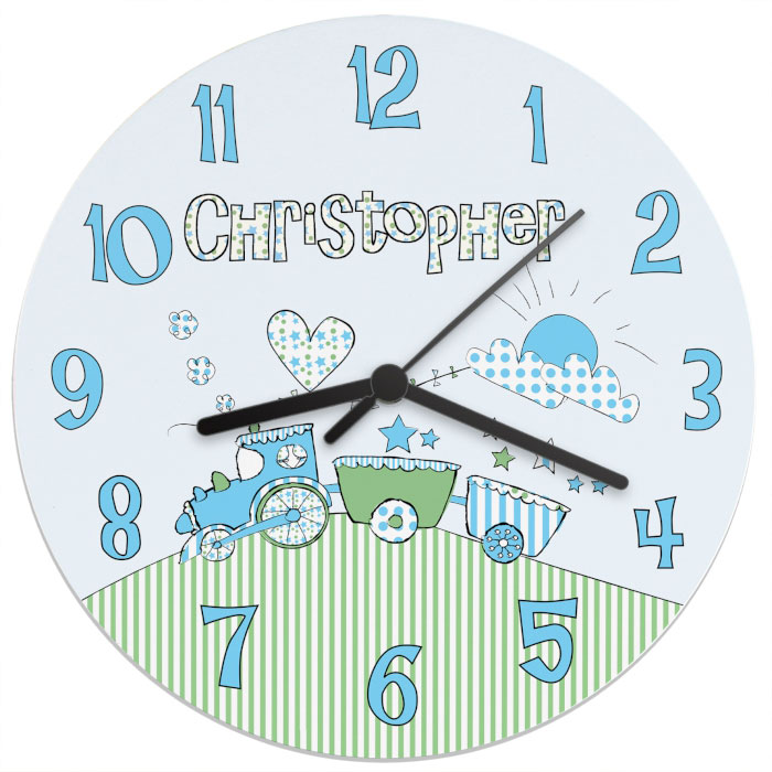 Whimsical Train Personalised Clock