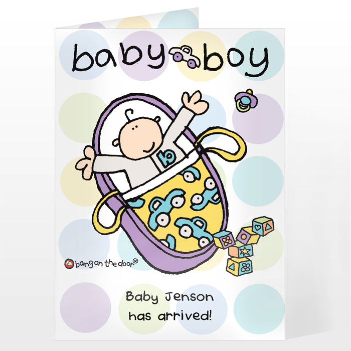 Bang on the Door Personalised Baby Boy Card Free Delivery