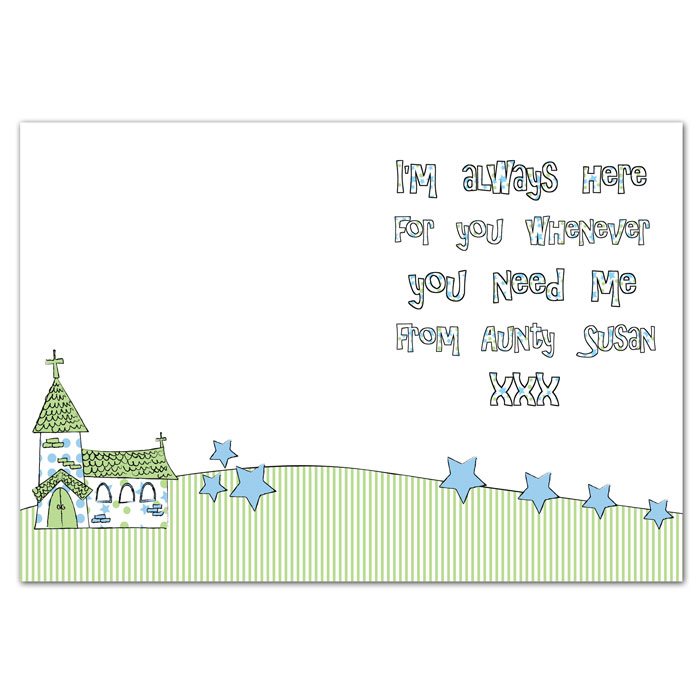 Whimsical Church Personalised Communion Card Free Delivery