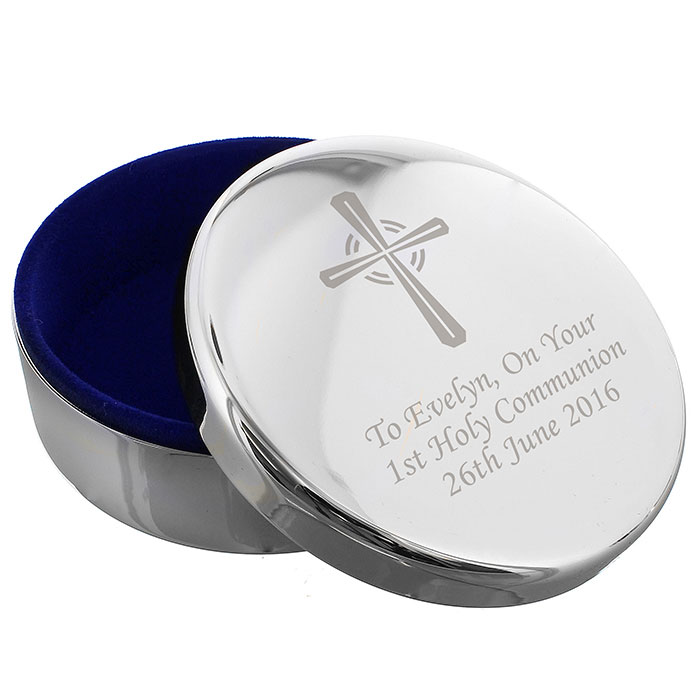 Engraved Silver Cross Rosary Bead Trinket Box