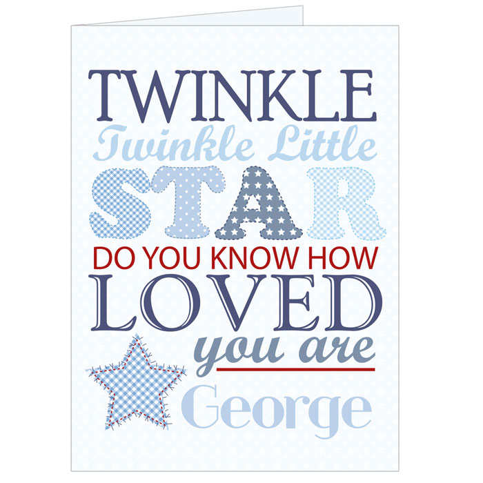 Twinkle Twinkle Boys Personalised Card