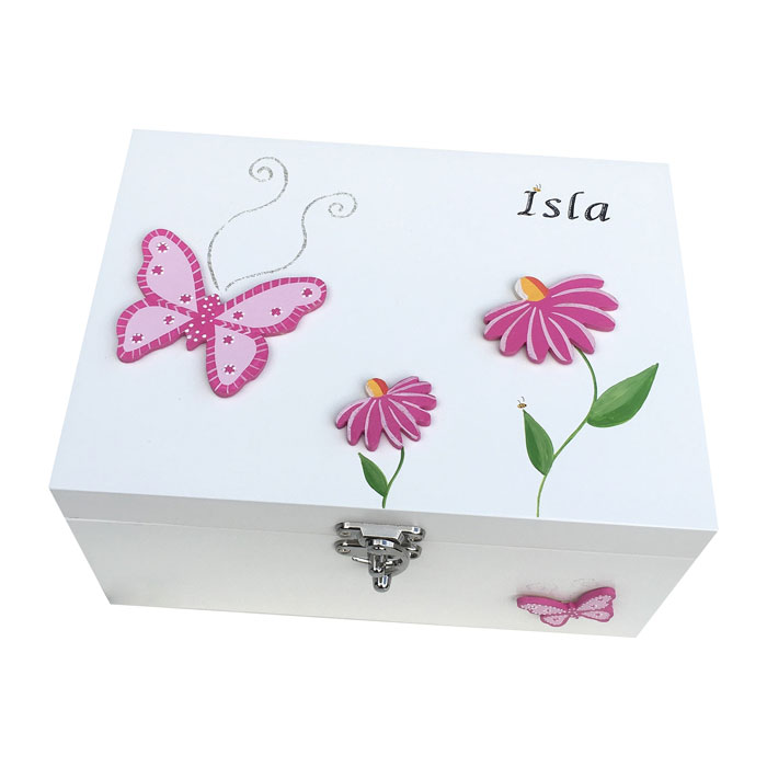 Butterfly and Daisies Personalised Keepsake Box