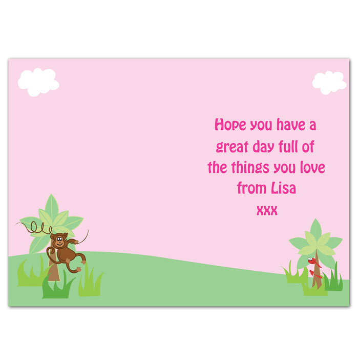 Personalised Girls Animal Alphabet Card