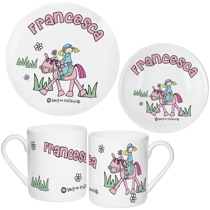 Personalised Pony Princess China Breakfast Set