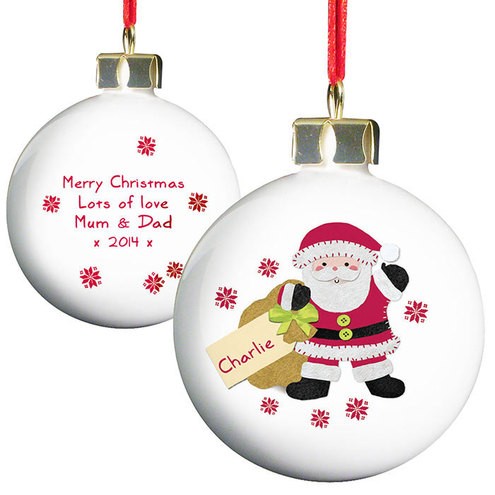 Personalised Felt Stitch Santa Bauble