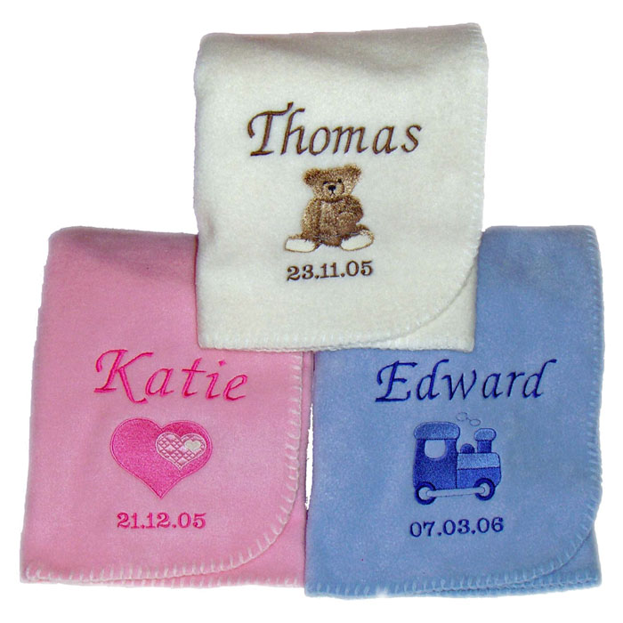 Personalised Fleece Baby Blanket in Pink Blue or Cream