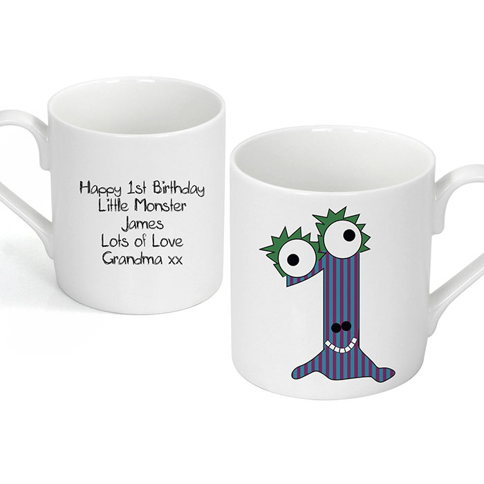 Personalised China Monster Age 1 First Birthday Mug