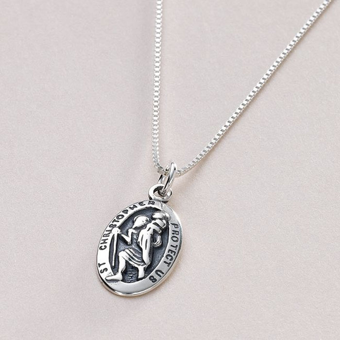 Personalised Engraved Silver St Christopher Necklace
