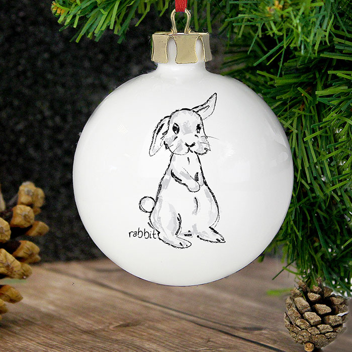 Personalised Scribble Bunny Bauble