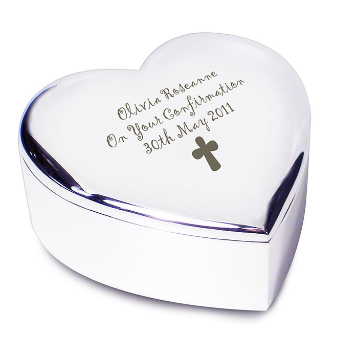 Personalised Heart Shaped Cross Trinket Box