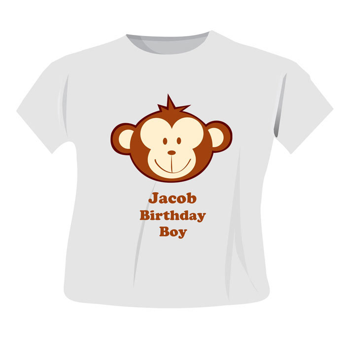 Personalised Monkey T Shirt 3 to 4 Years