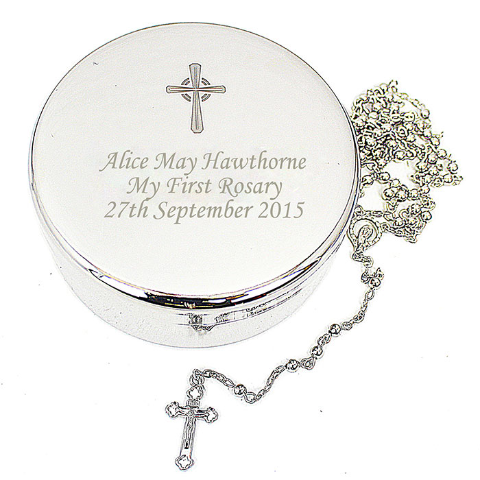 Rosary Beads and Engraved Cross Round Trinket Box