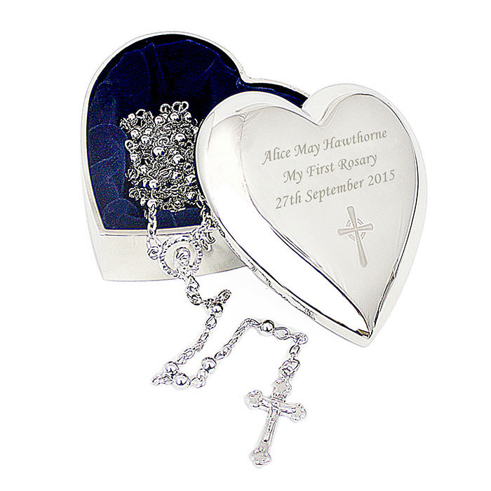 Rosary Beads and Engraved Cross Heart Trinket Box