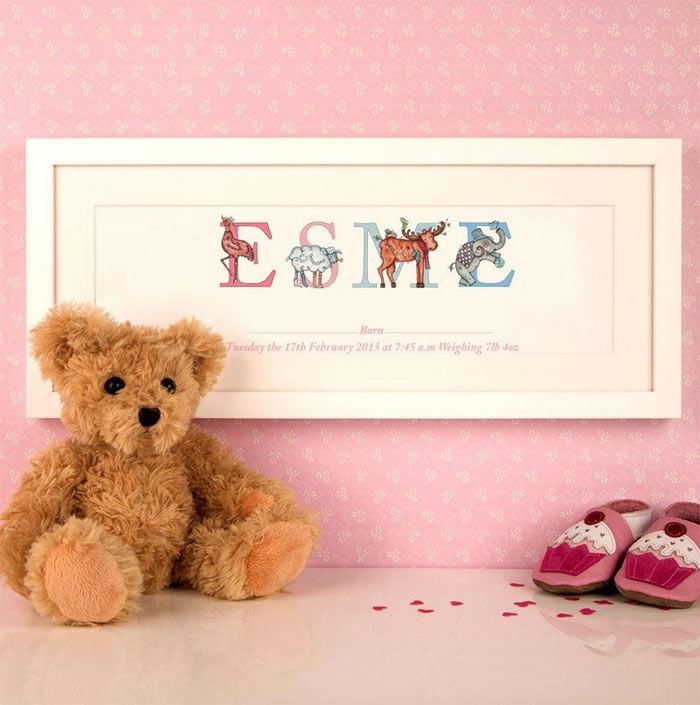 Premium Baby Birth Illustrated Name Frame