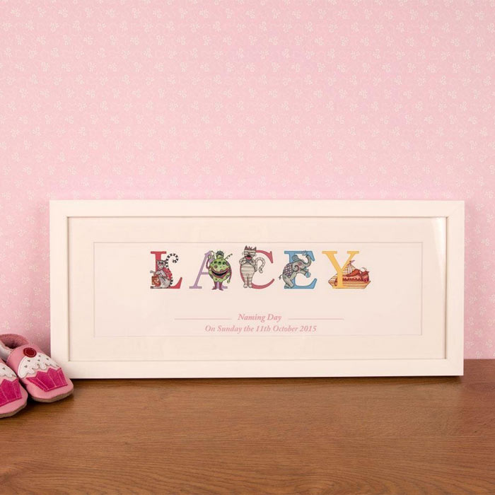 Premium Personalised Illustrated Naming Day Name Frame