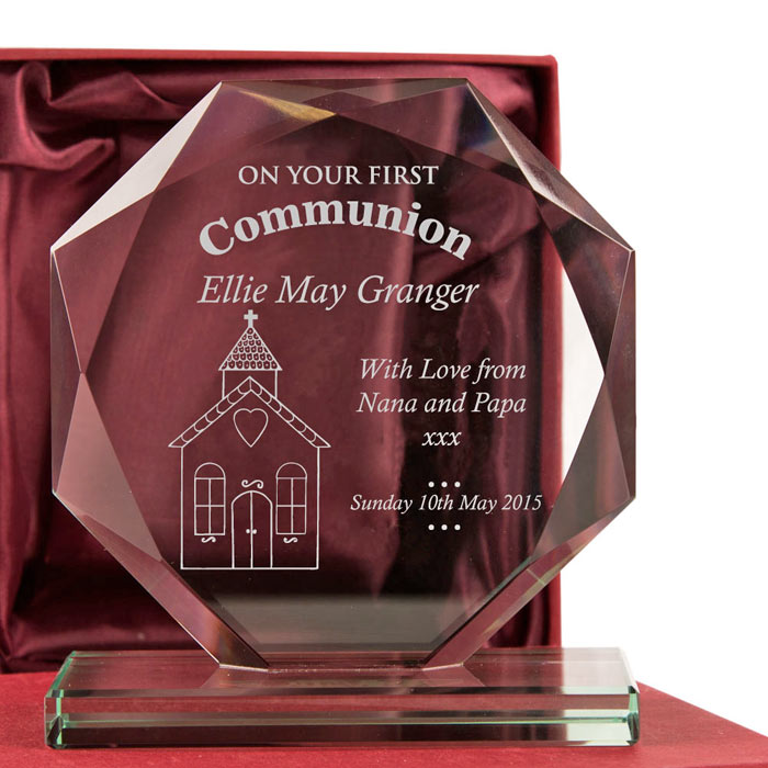 Engraved First Holy Communion Cut Glass Presentation Gift