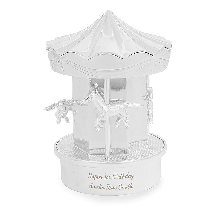 Personalised Carousel Moneybox Engraved Baby Gift