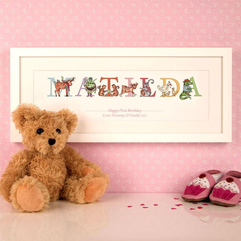 Premium Personalised Birthday Illustrated Name Frame