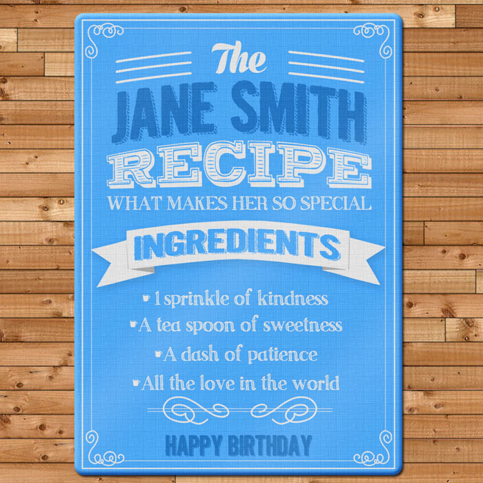 Personalised Recipe Glass Chopping Board Any Name
