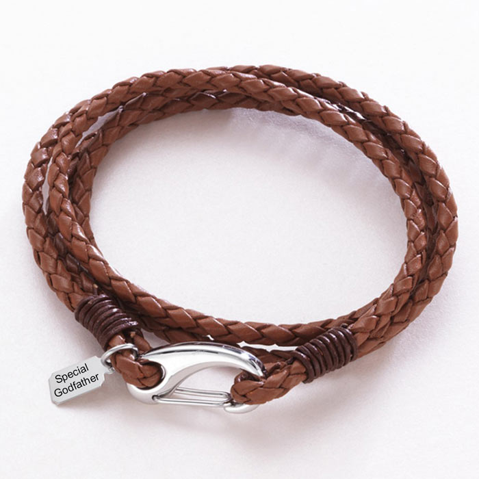Leather Wrap Bracelet With Engraved Steel Tag